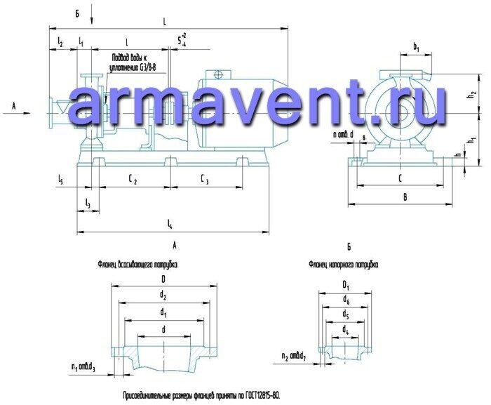 Габаритный чертеж горизонтального консольного сточно-массного насосы СМ - Компания АрмаВент.