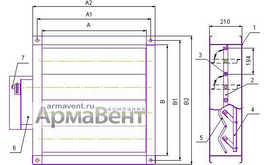 Габаритный чертеж клапана КВУ - Компания АрмаВент