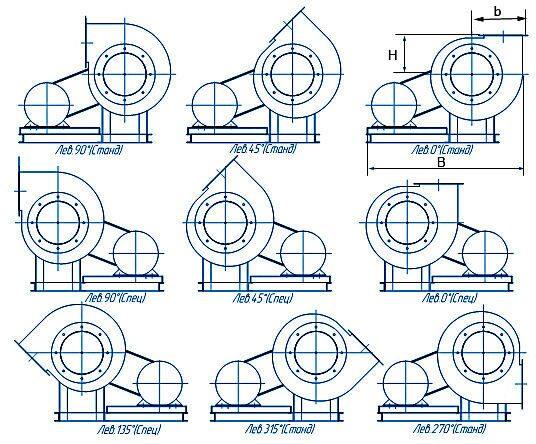 ugol_shema_5_levoe.  Варианты углов поворота корпуса вентиляторов ВР 80-70-10 схема 5 ЛЕВОГО вращения.