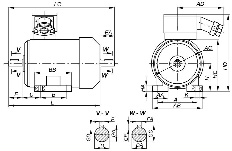 1_Габаритный чертеж взрывозащищенных электродвигателей ВА - Компания АрмаВент