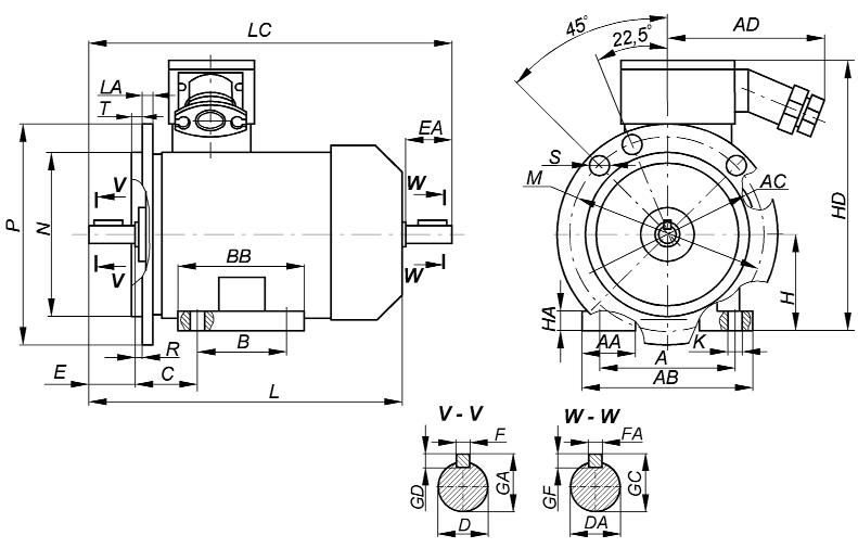 2_Габаритный чертеж взрывозащищенных электродвигателей ВА - Компания АрмаВент