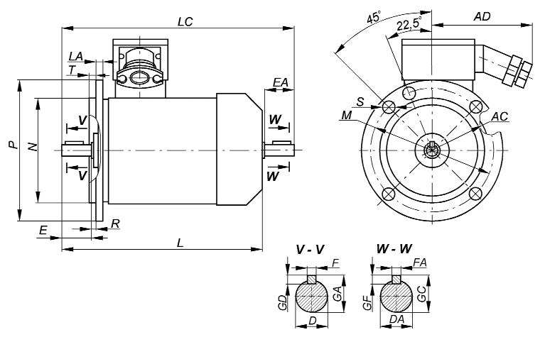 3_Габаритный чертеж взрывозащищенных электродвигателей ВА - Компания АрмаВент