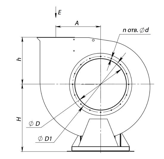 Габаритный чертеж вентиляторов ВЦ 4-70-2,5